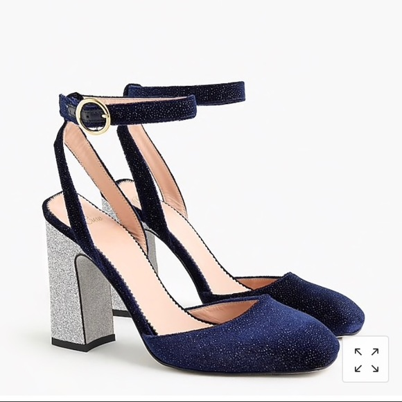 89d331dce7f6 J. Crew Shoes | Nwt Jcrew Anklestrap Pumps Blue Velvet Glitter ...